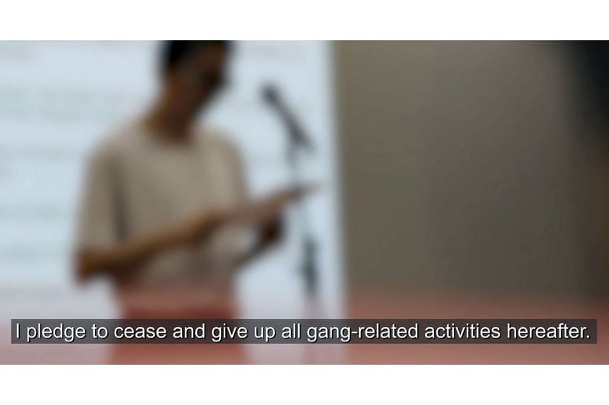 A screen grab from a video clip featuring a prison inmate known only as Sam declaring his intention to leave his gang. Mr Paul Ang, an ex-offender, severed all ties with the gang he had belonged to when he took the Gang Renunciation Programme pledge