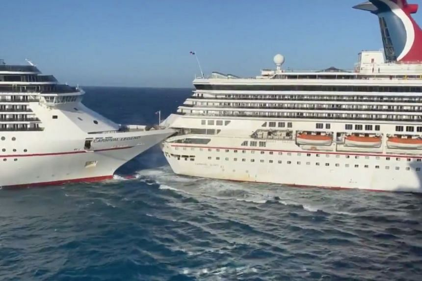 A still taken from video shows the Carnival Glory and Carnival Legend after the crash.