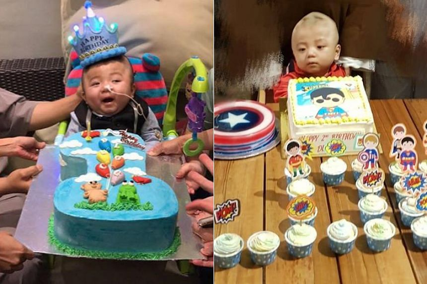 Loc Pham Duc Loc at his first (left) and second birthday celebrations.