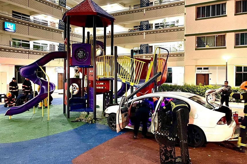 The car after crashing into the playground in Bukit Merah late on Friday night. A 27-year-old man was arrested by police.
