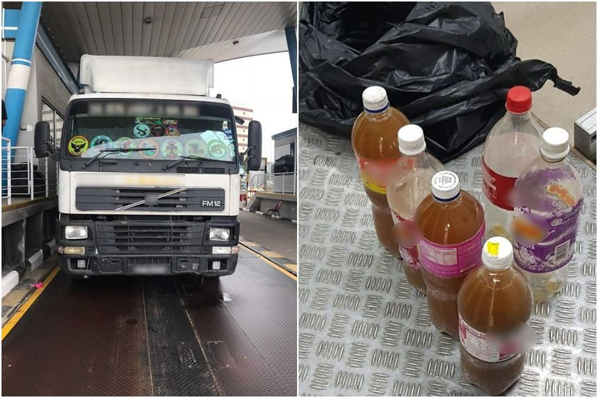 Four bottles of the brown liquid, believed to be kratom, were found in a Malaysia-registered lorry that was transporting metal beams.
