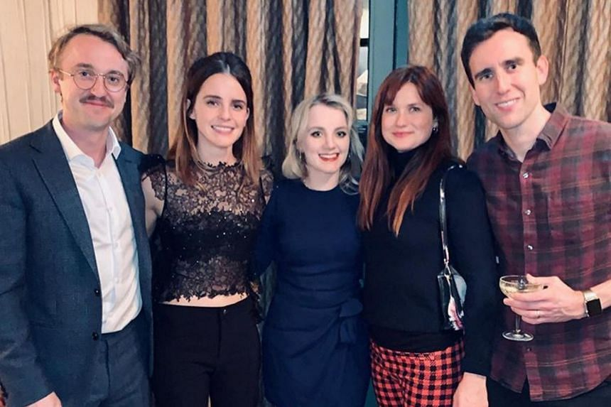 (From left) Harry Potter co-stars Tom Felton, 32; Emma Watson, 29; Evanna Lynch, 28; Bonnie Wright, 28; and Matthew Lewis, 30, had a small cast reunion.