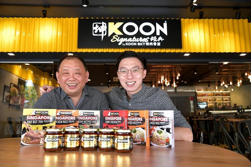 Mr Chong Nyen Koon (far left), director and founder of Koon Bak Kut Teh, and company manager Jay Tan with the firm's spices and pastes that are sold online.