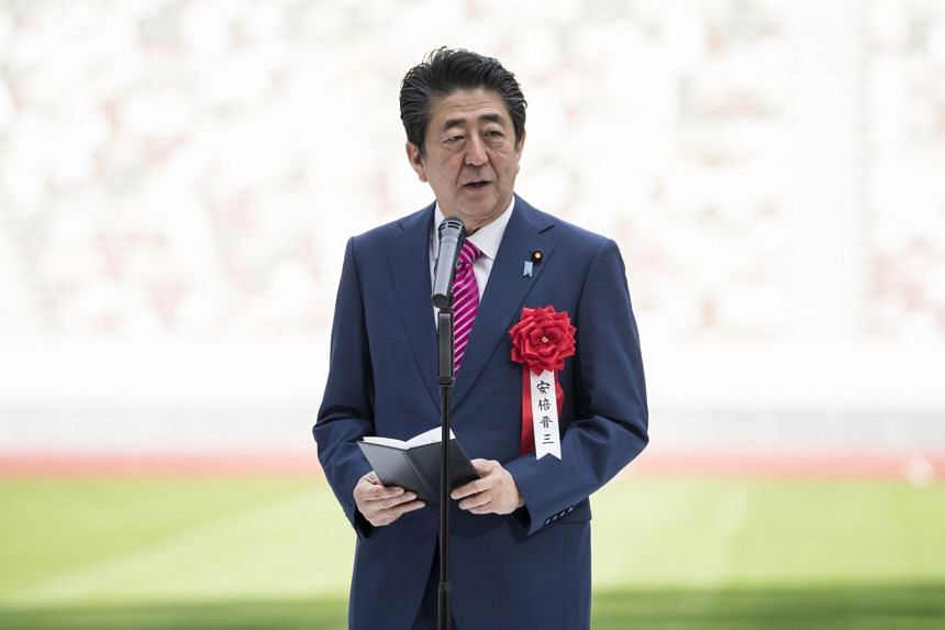Japanese Prime Minister Shinzo Abe delivering a speech at a stadium in Tokyo, Japan, on Dec 15, 2019.