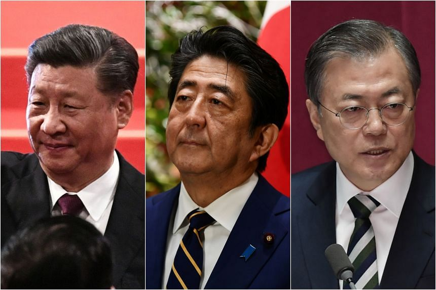 Chinese President Xi Jinping will meet Japanese Prime Minister Shinzo Abe and South Korean President Moon Jae-in in Beijing on Dec 23, 2019.