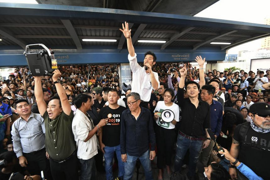 Thailand's Future Forward Party leader Thanathorn Juangroongruangkit talks to his supporters during rally in Bangkok on Dec 14, 2019. The Future Forward Party could be dissolved if convicted.
