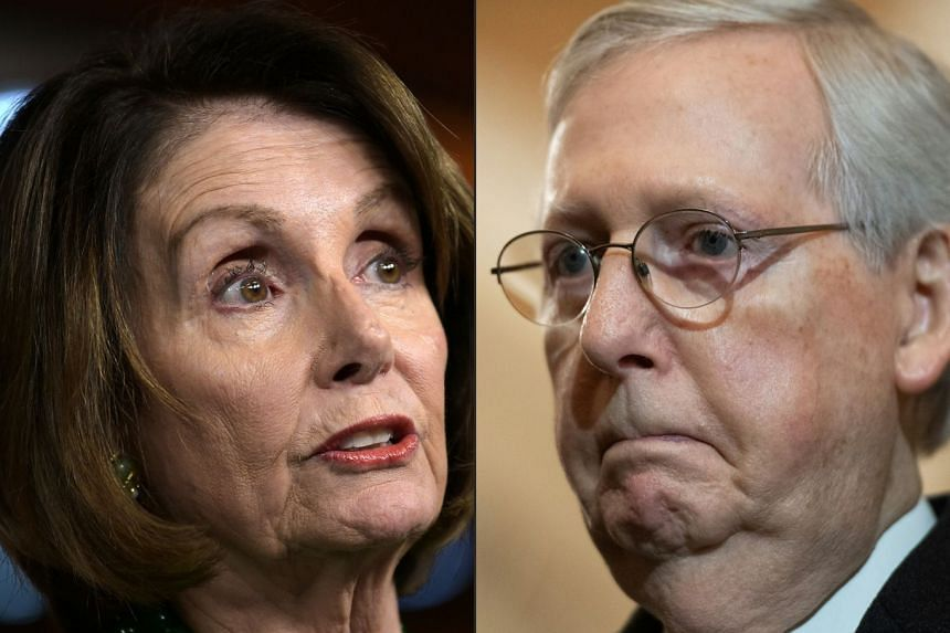 Nancy Pelosi (left) seems to be trying to tell the Senate how to run a trial. says Senate Majority Leader Mitch McConnell (right).