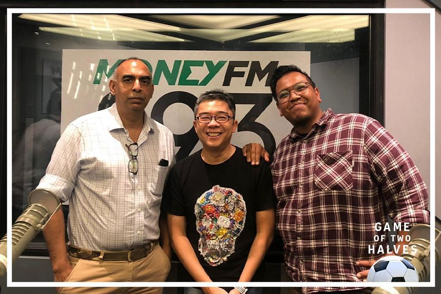 In this episode, Money FM's Bernard Lim (centre) hosts ST assistant sports editor Rohit Brijnath (left) and sports correspondent Sazali Abdul Aziz (right).