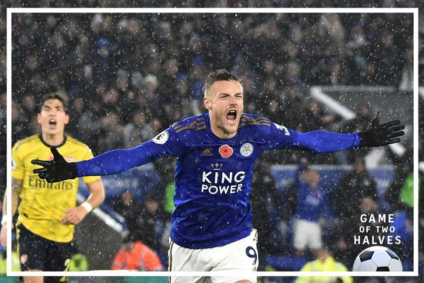 Leicester's Jamie Vardy celebrates after scoring the opening goal during the English Premier League soccer match between Leicester City and Arsenal at the King Power Stadium in Leicester, England, Saturday, Nov. 9, 2019.