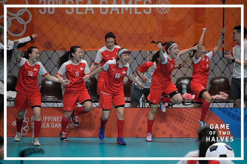 The Singapore women's floorball team celebrating, after beating Thailand 3-2 in the final at the UP CHK Gym in Manila confident on 1 December 2019. The team won a Gold medal for the republic at the 30th SEA Games, which was held at Philippines.