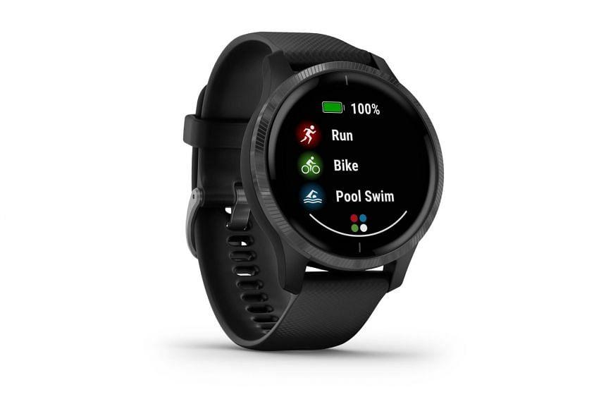 The Garmin Venu smartwatch's Amoled touchscreen display has a resolution of 390 x 390 pixels.