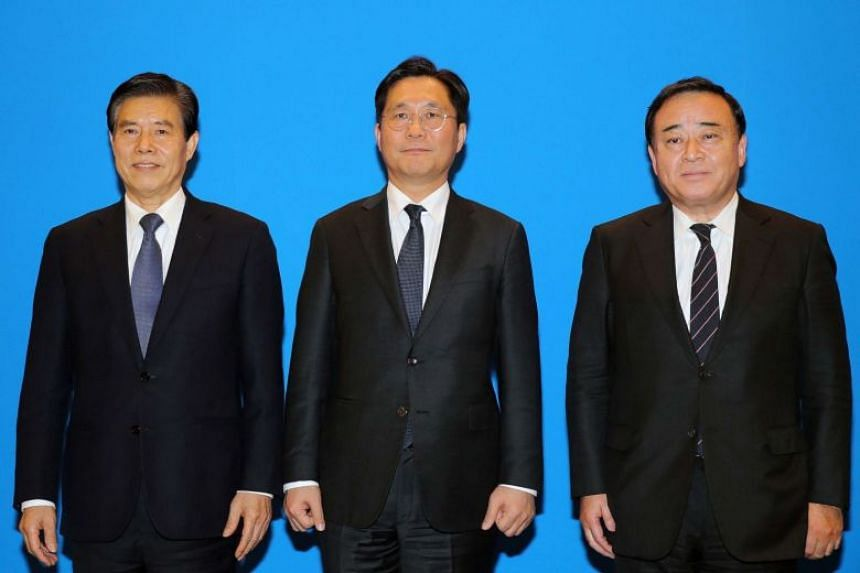 (From left) Chinese Commerce Minister Zhong Shan, South Korean Trade, Industry and Energy Minister Sung Yun-mo and Japanese Economy, Trade and Industry Minister Hiroshi Kajiyama at a meeting in Beijing, on Dec 22, 2019.