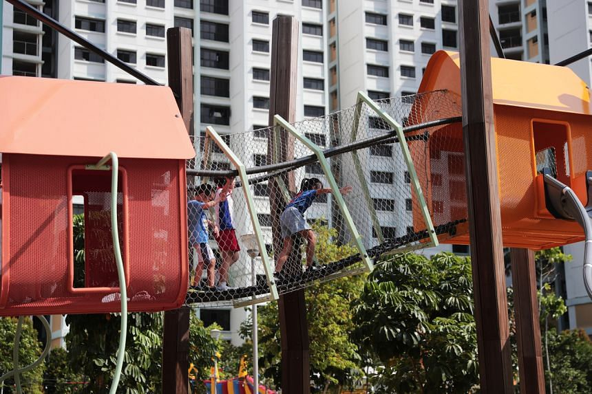 Children at a playground in Buangkok on July 28, 2019.