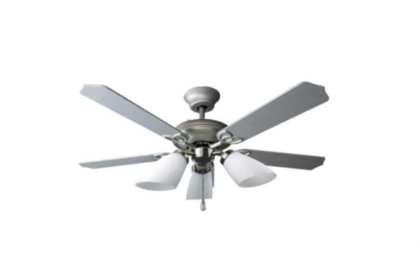 Two of the 17 models of Elmark fans affected by the recall: the AC 4054 wooden blade ceiling fan and the ES 803 ceiling fan (above).