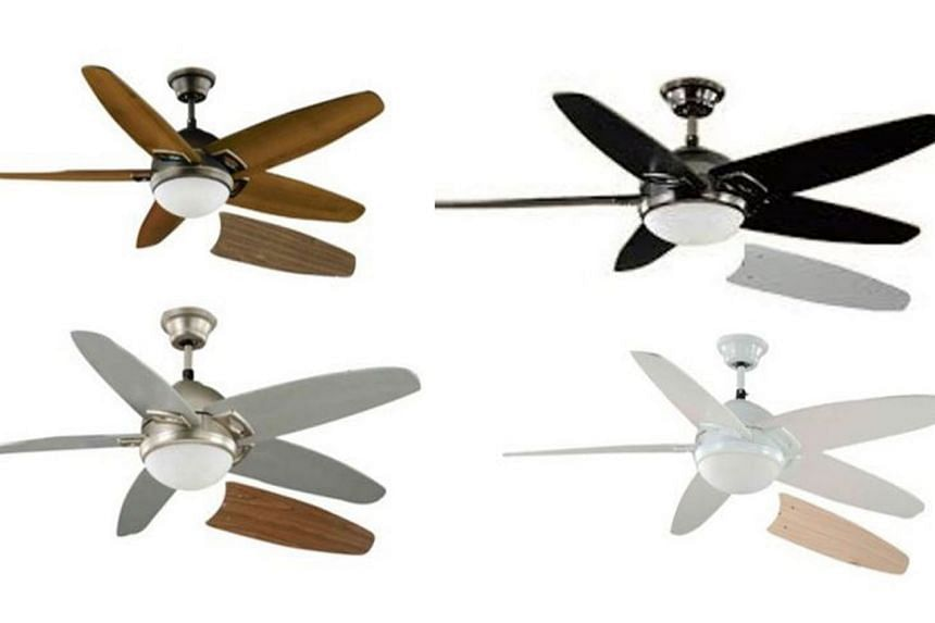 Two of the 17 models of Elmark fans affected by the recall: the AC 4054 wooden blade ceiling fan (above) and the ES 803 ceiling fan.