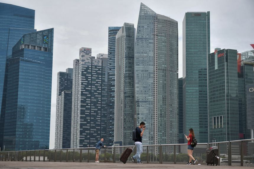 A view of Singapore's central business district and city skyline.