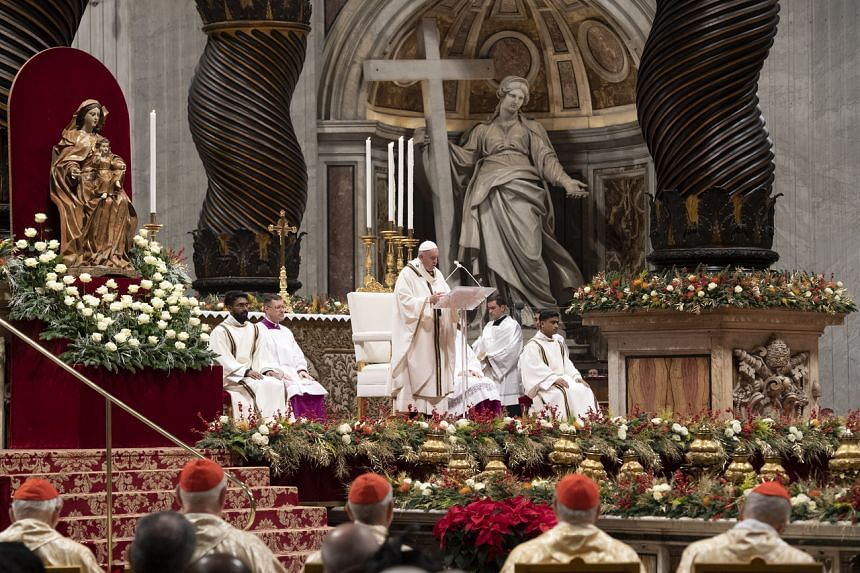Pope Francis leading the Christmas Holy Mass in Saint Peter's Basilica at the Vatican, on Dec 24, 2019.