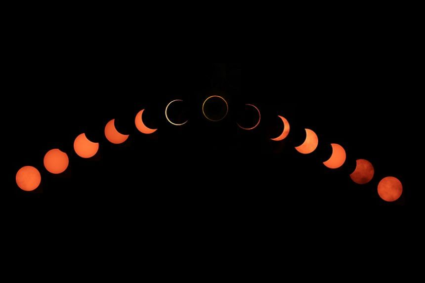 A composite photo of the annular solar eclipse on Dec 26, 2019.