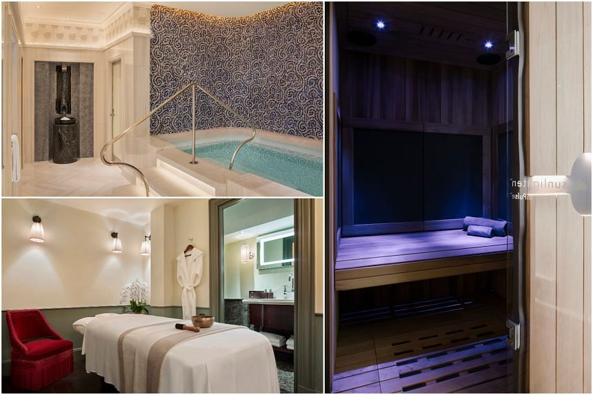 (Clockwise from top left) Thermal facilities at Raffles Spa, a sauna cabin at Pure Wellness Studio and a treatment room at Six Senses Spa.