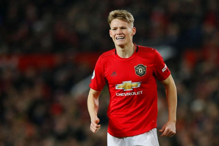 Manchester United's Scott McTominay reacts during the match.