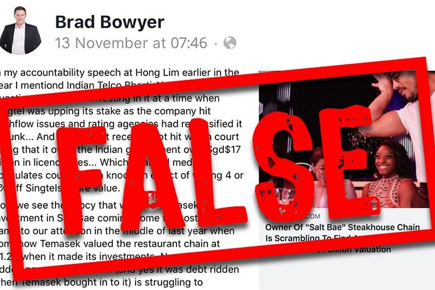 Above: The Protection from Online Falsehoods and Manipulation Bill was passed in May and used for the first time last month, with Progress Singapore Party member Brad Bowyer being asked to correct false statements (left) that he made. PHOTOS: ST FILE