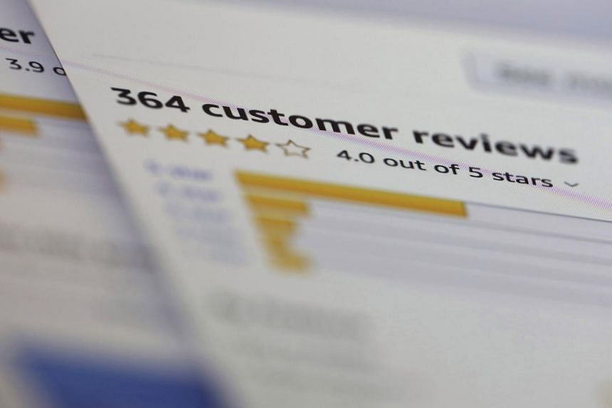 In a photo taken on April 17, 2019, online customer reviews for a product are displayed on a computer in New York.