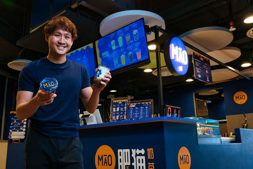 Founder of Fatcat Ice Cream Bar Charles Tan at his new F&B concept, MĀO Milk Bar, which is being incubated at Temasek Polytechnic's incubation testbed SPROUT. PHOTO: TEMASEK POLYTECHNIC