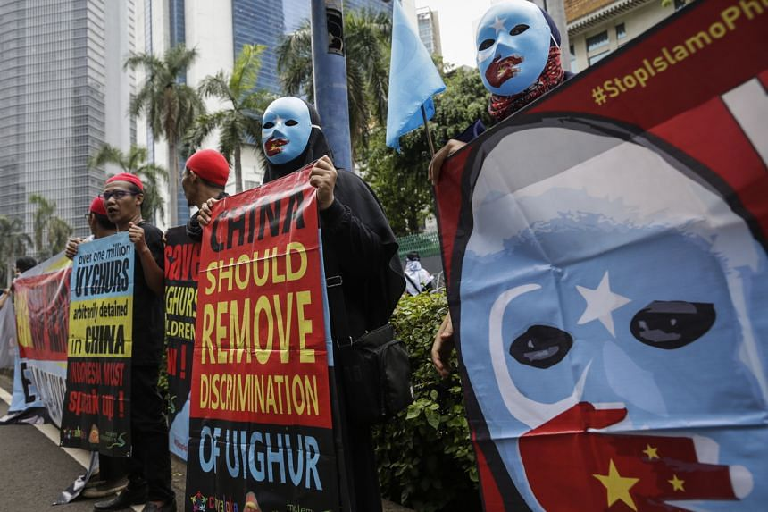 A rally in support of Xinjiang's Uighur Muslims outside the Chinese embassy in Jakarta on Dec 27, 2019.