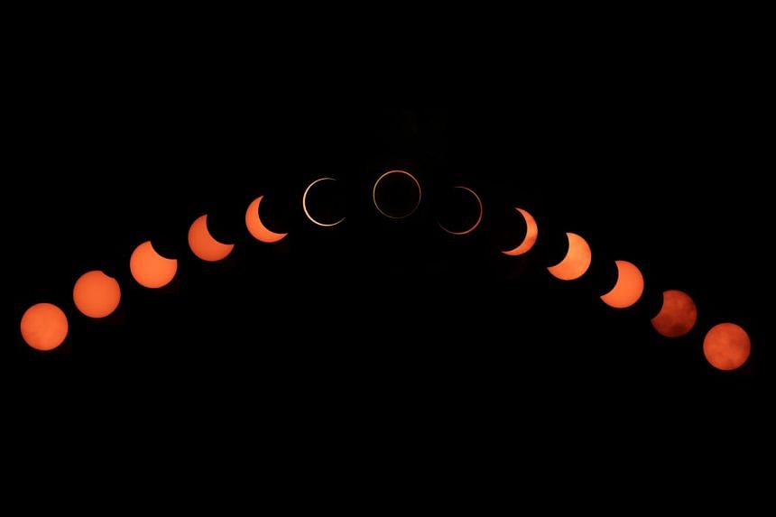 A composite photo showing the annular solar eclipse yesterday.