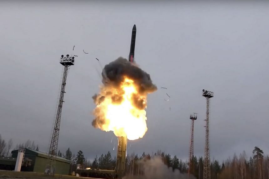 An undated photo supplied by Russia shows an intercontinental ballistic missile lifting off from a truck-mounted launcher.