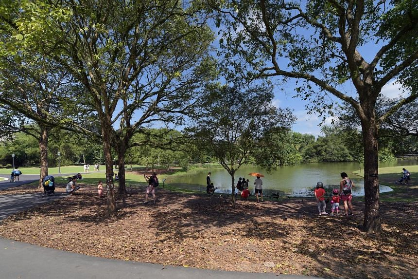 RESPITE FROM THE HEAT: Visitors at one of the gardens' lakes which is finally full after a few weeks of rain. The lakes had been only half-filled much of the time this year because of a hot spell. The effects of climate change are likely to put more stres