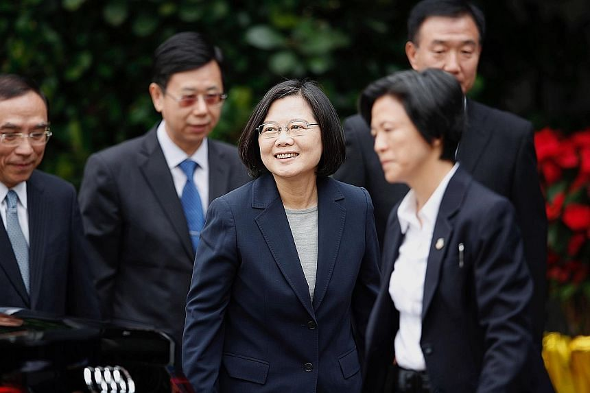 "Taiwan's President Tsai Ing-wen has been vocal about supporting the Hong Kong protesters and has kept her social media accounts updated with graphs and posts cautioning Taiwanese to vote wisely, or the island will ""end up like Hong Kong"". PHOTO: EPA-"