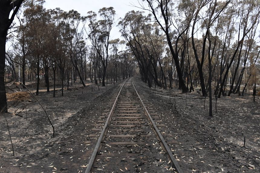 A view of train tracks damaged by recent catastrophic bushfires in Australia on Dec 23, 2019. The intense weather could worsen blazes.