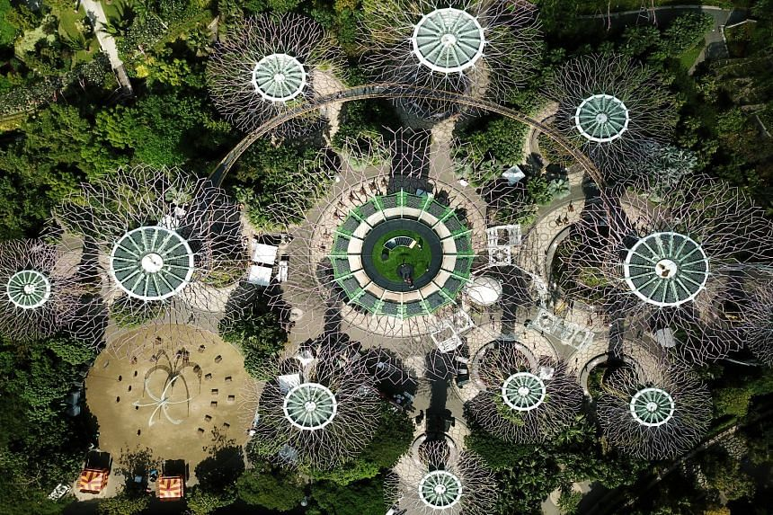Gardens by the Bay opened its new Supertree Observatory to the public yesterday. It has a lower air-conditioned deck and an upper open-air rooftop. The observatory space was previously occupied by restaurant IndoChine. The space took about six months to b