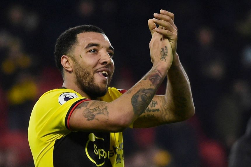 Watford's Troy Deeney celebrates after the match.