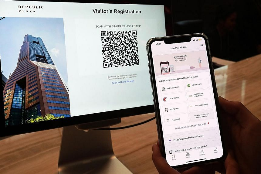 Above: At Republic Plaza, visitors scan a QR code, then log in to their SingPass Mobile account for registration. Right: When their identities have been authenticated, they will be granted access to the lift lobby.