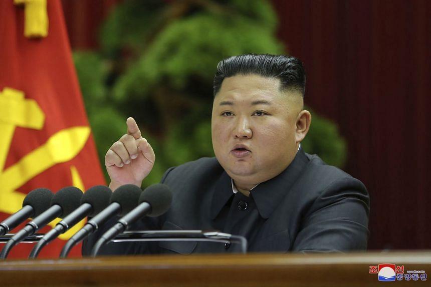 North Korean leader Kim Jong Un speaks during a Workers' Party meeting in Pyongyang.