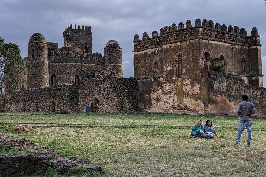 The castles at the Fasil Ghebbi royal enclosure in Gondar are popular with the locals, who go there to stroll and take pictures.