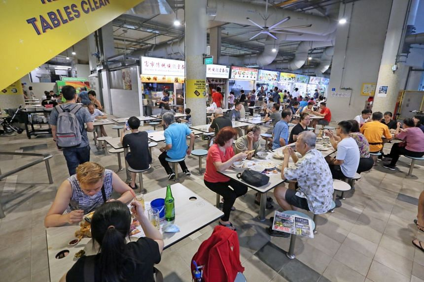 The hawker centre in Marsiling Mall (above) is one of 12 hawker centres in total that have dumped disposables.