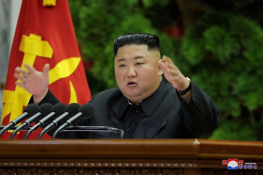 North Korean leader Kim Jong Un speaks during meeting of top ruling party officials in this undated photo released by North Korean Central News Agency on Dec 28, 2019.