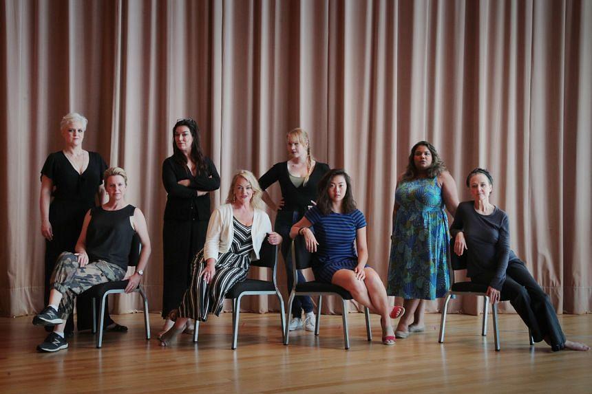 (From left) Performers Dominica Matthews, Fiona Campbell, Antoinette Halloran, Sharon Prero, Cassandra Seidemann, Jade Tan, Janani Sridhar and Taryn Fiebig play valkyries in the Wagner opera.