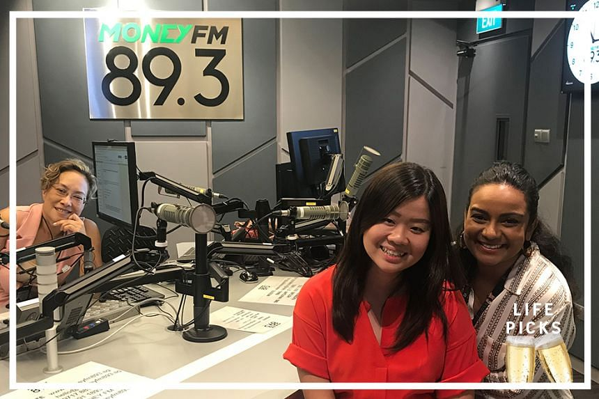 Money FM's Claressa Monteiro (left) chats with ST entertainment and nightlifereporter, Anjali Raguraman (right) and ST food correspondent Eunice Quek (centre) about their picks for the week.