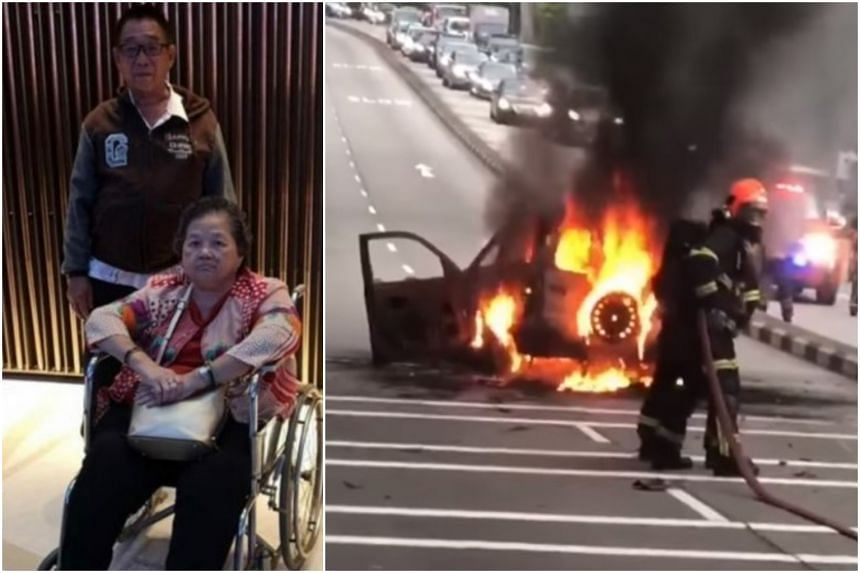 Mr Tan Cheng Whatt, 72, and Madam Khoo Geok Hwa, 68, found their car on fire after a burning motorcycle slid under it in Eng Neo Avenue on Dec 28, 2019.