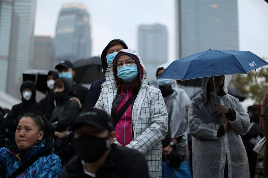 Anti-government demonstrators take part in a protest in Hong Kong on Dec 29, 2019.