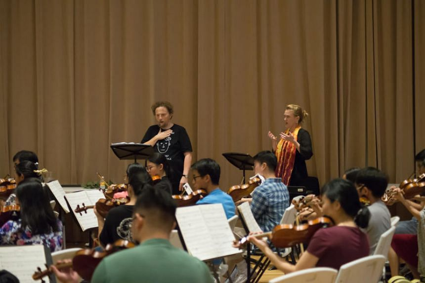 Soloists Warwick Fyfe and Caitlin Hulcup and the Orchestra of the Music Makers during a rehearsal of their production of Wagner's The Valkyrie.