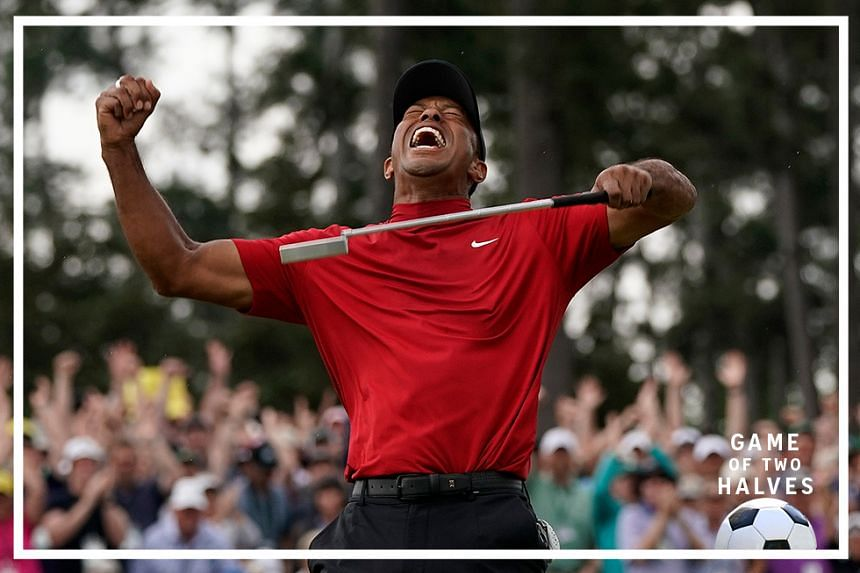 Tiger Woods reacts as he wins the Masters golf tournament in Augusta, Ga. Woods' victory at the Masters might not have been the most important sports story of 2019. It was certainly one of the most uplifting. Voters chose Woods' dramatic comeback at