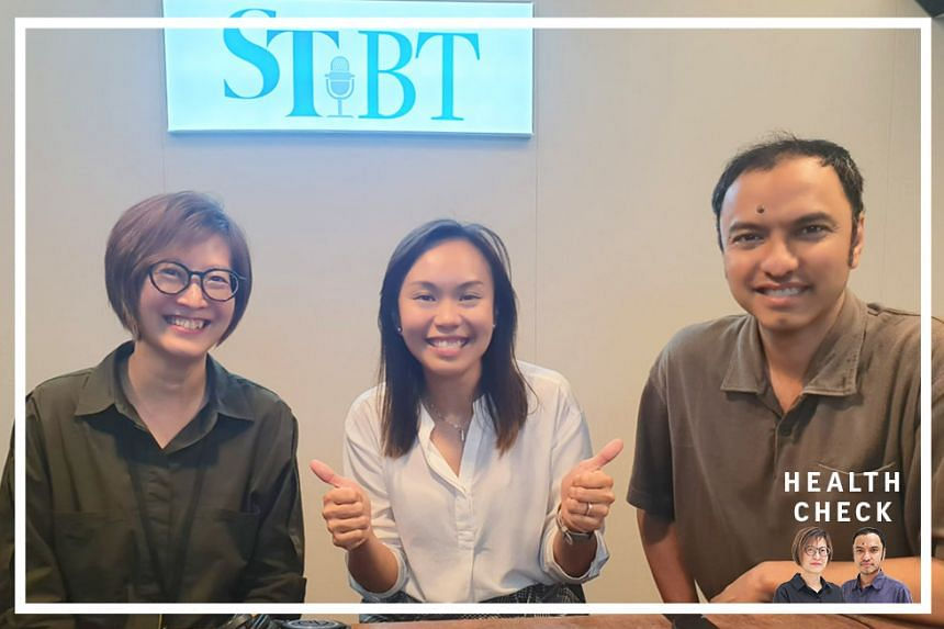 ST correspondent Joyce Teo (left) and podcasting head Ernest Luis (right) host Lee Yi Ping (centre), team leader and senior youth support worker for the Community Health Assessment Team (CHAT) - which has been helping and supporting young people with