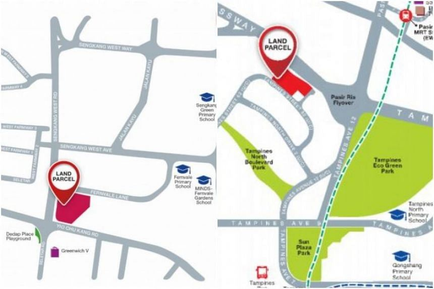 The Fernvale land parcel has a site area of 17,129.9 sq m, while the Tampines site is larger at 23,799.2 sq m.