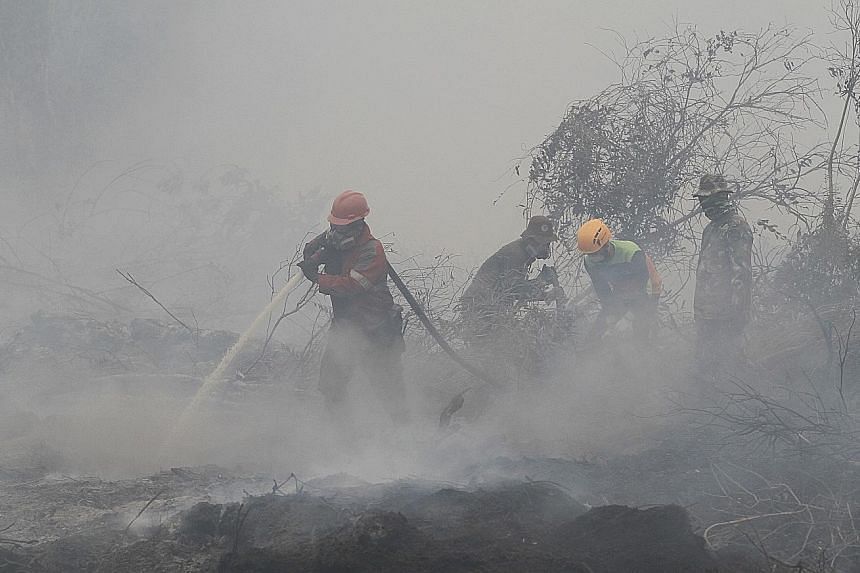 Firefighters in Riau, Indonesia, extinguishing a forest fire in September last year, when a prolonged dry season saw the PM10 Pollutant Standards Index in Riau's capital of Pekanbaru surging over 700, a record high.