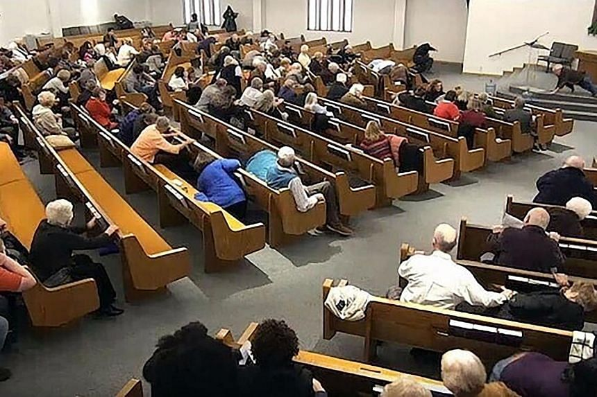 Keith Thomas Kinnunen, the attacker in the Texas shooting, had been arrested before on other gun charges. A still frame from livestreamed video showing churchgoers taking cover while a congregant (top left) engaged a man who opened fire (top centre j
